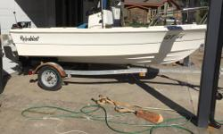Bought for small ocean and lake boat but went another direction. No engine. Good shape, needs a good clean though. Has steering cable still run to transom, fuel tank and wired for scotty plugs. Will come on a larger/stabler trailer just need to swap over.