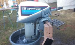 early 80's 15hp evinrude, starts first or second pull every time. Rebuilt carb and new impeller this spring. would also consider trading for a 50hp-75hp outboard! 705-975-3091