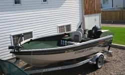 For Sale: 2002 Crestliner FishHawk 1600 Tiller Model with 2005 60hp 4 Stroke Mercury, Approx 150hrs on Engine. 2 - 55lbs Thrust MinnKota trolling Motors ( Bow & Stern Mounts), Wave Wackers, 4 Rod Holders, Hummingbird fish finder (GPS Compatible), EZ