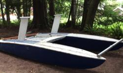 16' catamaran with mast and sails