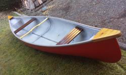 nice solid 16' fiberglass canoe - freshly painted and ready to head out. call - text or email