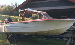 Boat is solid. new drivers seat and aluminum seat base with hatch. 60hp yamaha enduro with upgraded tilt n trim and electric start. Fires right up. Inspected by mechanic. Good compression 125 across all cylinders. Both key and pull start so never get