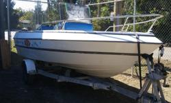 16.5 foot Campion fish boat, 90 HP Evinrude runs excellent. Have disconnected plug in wires to pull motor off to put 175 HP Evinrude on it. Center consul, bilge pump cover, trailer with papers. Boat, trailer with 90 HP $2200 firm.
