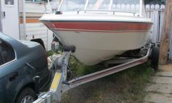 1985 Open bow, seats 10, orange vinyl seats, no leaks, 175 OMC inboard, needs work on leg, newer Shoreline trailer, new axle, full size tires ,wheel hitch, sturdy, will support much larger boat. **Also included is extra motor for parts.** Call only**