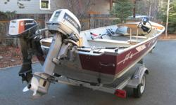 16 foot Lund.  Wide and deep V hull design. Comes with forward steering and controls, new Easy Loader galvanized trailer with spare tire and mount, 35 hp Evinrude longshaft outboard and 6 hp Johnson trolling motor and transom bracket, Hummingbird fish