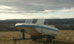 Looking to trade for a smaller boat.  Trailer isn't inspected now but works fine.  Motor runs likea  top, only had it for this past summer. Clips along well and very stable in rough water, has seats at the bow as well.
