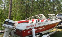 16 foot Starcraft bowrider. Seats eight. 90 horse Johnson VRO and Starcraft trailer. Includes depth finder and VHF radio. In boat gas and oil. New tires and new bunk boards. Boat and motor maintained professionally annually. $5000.00 705 206-2600.