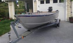 16 foot Alumacraft. 25 hp 2-stroke Merc on trailer. Engine runs very well, serviced last year at Stompin Tom's. New floor, stamped aluminum. 2 Crab Traps, 2 Prawn Traps, 3 life jackets, gas tank & anchor Text me at 250-802-5738.