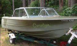 16 ft k&c deep V with mid 80's 50 hp mercury. Boat is in good shape with no major cracks and does not leak but paint is quite faded, outboard runs perfect and has very low hours for it's age, Starts right up and can be seen running, trailer in decent