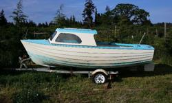 Originally molded off a wooden lapstrake hull, this seaworthy fiberglass boat is almost unused since being built. It's dory shape makes for an efficient and safe vessel for fishing or cruising. Not the fastest boat but will travel all day on a few liters