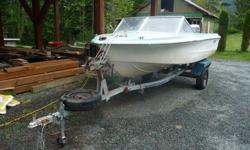 50HP Mariner OB, just serviced, runs great, totally rebuilt trailer, new tires & rims, new axle, springs, wheel bearings and trailer jack. Can handle up to 20ft boat. Older boat is solid and included for free. Located Shawnigan Lake. Contact Bob at