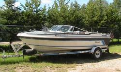 for sale 17.5 foot larson boat and trailer rebuilt murcruser v8 moter and stern drive new prop,water pump,electric trolling moter,boat cover many new parts  ready for winter storage $6500.00 obo