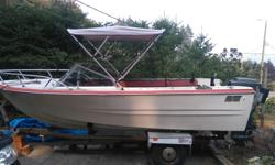 17.5 K&C, 200hp Mariner with Lowrance Elite 3x Fishfinder, VHF, marine cd radio and speakers, oar, life jackets, brand new kicker bracket, brand new bimini top and ez loader trailer with papers. Open to offers, last deal couldn't come up with the money.