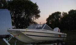 1986 17' Glastron Tri hull ,open bow; with a 1986 90 Hp Johnson.Gauges,Ski Bar,open bow,fish finder. Trailer in very good shape.Good tires & spare. 2500.00 OBO. Possible trade for W.H.Y