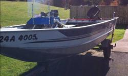 25 Horsepower mercury motor.   Includes: Fire Extinguisher Depth Sounder/Fish finder Trailer   Motor runs great, needs some attention for reverse gear.