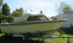Older model. 85 H.P. Mercury Outboard Motor and Trailer included.  Outboard runs well, needs  maintainanced.  Boat needs upholstery replaced. Asking $1000.00 or best offer. If phoning please ask for Mike. Please leave message if needed.