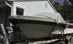18 1/2 ft Sangster with trailer, with 140 inboard/ outboard, walk through top with zippered sides, lots of extra parts and props including manuals, boat not running, minor problem with motor and leg, but could be fixed by the right person or could easily