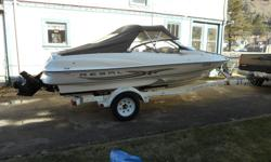 18' Regal Bowrider for sale, includes 3 person tube, tow rope, life jackets, full canvas cabin and EZLoader trailer. Upholstery in excellent condition, no tears or scars. Recently checked over by mechanic. Only 188.3 hrs. on V6 4.3L inboard Merc. Motor.