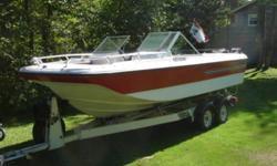 165 hp Bowrider. Complete with Mercruiser in-board and stern drive, Tandem axel Galvanized Tilt Trailer with NEW lights and wiring. Seats need to be Re-Upholstered. Would make an excellent winter project. this boat has NEVER been in SALT WATER