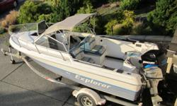 18 foot Campion,115 hp Newer Mercury engine,2 stroke engine,  less than 100 running hours,also 8 hp Honda kicker, trailer, fishing gear including 2 new scotties. Good condition, mechanically sound. Call 250 729-7201 or 756-5899 to arrange viewing.