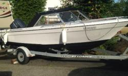 2004 75 HP Yamaha runs great starts instantly 2008 8Hp kicker Yamaha circulates water good and runs good has adjustable speed control and hooks to main motor for easy fishing Has down rigger mounts and wired for one Scotty Black Box Gas Gauge Lowrance