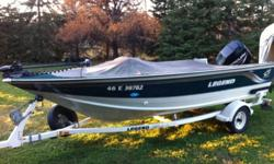 18' Legend, powered by a 135Hp Optimax; also comes with '09 4hp 4 stroke merc kicker and an electric bowe mounted trolling motor. Unit has two live wells, 2 storage compartments, 3 chairs + full stern bench. Boat also c/w travel cover, navigloo storage