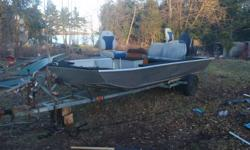 18' Smoker Craft Bass Boat - 70hp MERC 18' Smoker Craft Bass Boat w/ Mohagany wood Floor 70HP Mercury Outboard Motor + Electric Bow Mount Trolling Motor Trailer Included