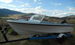 18ft Glasspar boat solid throughout new carpet, new front seats, kicker bracket with johnson electric trolling motor, in bow gastank, 90hp Mercury 900 outboard worth $2200 alone, Tilt trailer with new tires. Asking $2200 or trade for a SLED or why.Call