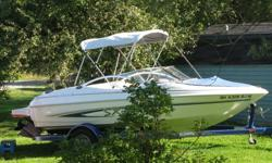 Glastron SX, mint conition, seats 7, Powered by a 135HP VOLVO PENTA I/O. pulls skiers with ease yet sips fuel. Top of the line boat with many extras, hull built so strong, it has a lifetime warranty. Comes with ski tube, and tow ring,depth gauge, stereo,