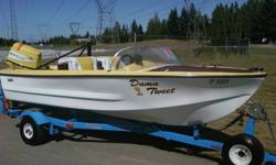classic fiberglass 13 ft. runabout ski boat,all redone this summer,new carpets, ext. poly finish on mahogany, 2005 nissan 3 cyl. oil injected motor, c/w two gas tanks, stereo c/w ipod jack, cd player custom steering wheel, tows awesome- wake boarding or