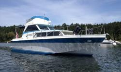 1968 Uniflite Express Cruiser / Fly bridge. Sleeps Six/ Stereo, Propane heat/stove/ oven and Head Hot Water and Engine cabin heat system. Black water holding tank Radar / GPS / Depth Sounder Fuel Consumption Meter Full aftdeck canvass/ Short aft Canvass