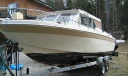 1972 Cabin Cruiser - -140 Mercury engine -galley kitchen -port-a-potty -needs work on roof email for more info