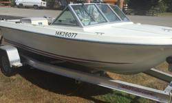 1975' Glasply Runabout 6 seats, lots of room to fish in the rear, 120hp Merc cruiser Inboard recent leg rebuild, Heavy Duty Kicker bracket ($500) mounted for Yamaha 8hp Four Stroke kicker ($1500) with only 3 hours on it! , Dual Marine batteries, Rod