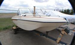 This 1975 Glaston V-140 Aqua Lift Features: 14 foot Fibreglass hull cream and burnt orange Open bow Sleeper style seating Walk thru windshield Power Trim Vinyl flooring Engine is a 70 HP Yamaha with a rebuilt lower unit. all on a Roller Holsclaw trailer