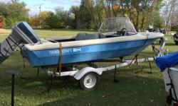 1977 Thunder Craft 15 ft Fiberglass Boat, with 1985 50 HP Evinrude 2 cylinder  motor.  Very good working condition.   Boat, motor & trailer complete $2500.00  Fitted boat cover included. Call 791-9454   Stonewall area