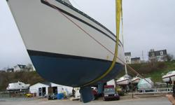 For sale Arianna, a 27' sloop. She is wheel steering with a shoal (shallow) keel and inboard 8 hp diesel engine that is very fuel efficient, easy to maintain safe (vs gas);and reliable. The boat is easy to sail single handed yet sleeps 5 with headroom of