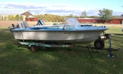 1979 Simpson Sears 15 ft Fiberglass Boat with 55 HP 3 piston Evinrude Johnson Motor.  Very good working condition.  Boat, motor & trailer complete $2500.00.  Fitted boat cover included.  Call 791-9454   Stonewall area