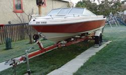 Trailer and boat for sale. Boat has an OMC 140 4 cyl motor with a crack in the block. The omc leg is white and works great. Also a spare new prop comes with it. Boat has low hours of usage.