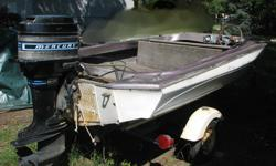 This is an older fiberglass, closed bow, 16' sport . Boat needs work or TLC .Possibly for parts. Inlcuded is 4 cylinder, 85 HP 850 Merc Outboard engine with Thunderbolt ignition, approx 1978. Was reliable motor several years ago when used last. Storage