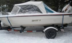 for sale 1982 14 ft. glastrone speed boat triple bow  , it has a 60 hp johnson on it , also new interior, new canopy ,new canopy skin, new trailer and new cd player !  i took this on trade from original owner it has only 6 tanks of gas put threw it !