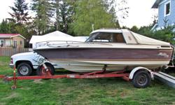 Hull is good, stringers are good, interior is good. Floor needs to be replaced. Mercruiser 470 that doesn't run. Mechanic looked inside & says it's in pretty good shape and a good candidate for a rebuild. Comes with 2 canvas tops & some electronics.