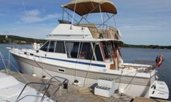 Excellent condition and well taken care of . Twin V6 Crusader engines with low hours. Survey available upon request. GPS, fish finder and depth sounder, two VHF and twoStereos, etc (to many items to mention). Midship stateroom and flybridge, Currently