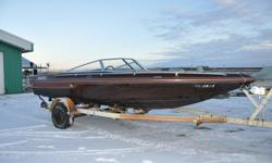 This 19 Foot 1984 Baja Sunsport 190 Features: Brown/Rust Fleck Deep V Fibreglass Hull 2 Bucket plus full bench seating Carpet Flooring Open Bow New Shift Cable 352 HP OMC 800 Enigine with new block and 1 new head On a Calkin (Roller) Trailer Package
