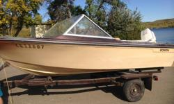 50hp motor. Great starter boat! The seats are not in the best shape, but it worked well for us. It does take a bit to get going on the first start up of the year, but once it does start it has been good. We are the second owner. Life Jackets, ladder,