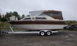 Gorgeous 1986 Scorpion cabin cruiser , with galley , head ,shower ,teak table , and sleeping quarters. Low hours (605)  Professionaly maintained. Always stored inside. Spare prop, two anchors, lifejackets, ropes, spare dock bumpers, autopilot, gps,