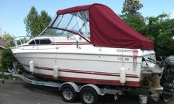 great weekender 1986 sunrunner 350 chev with duel prop Volvo leg frig,stove head 12volt/110v power 15hp Nissan kicker full canopy sleeps 4 lots of extras roadrunner trailer
