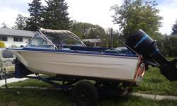 Make Glastron Inc Model 16 foot glascraft Deep V Year 1985 Colour White PRICE REDUCED it just flies over the water .This will pull your skiers or Tubers with no effort at all ....... even canopy is still in pretty decent shape .boat itself is In real good