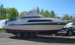 This cruiser has flybridge engine controls; bimini top with full enclosure; economical twin 4 cylinder 180 hp Mercruiser I/O engines with 673/630 hours. New (2013) Upholstery up and down, except for captains chair, new batteries. New (2014) Canvas, 4 Bank