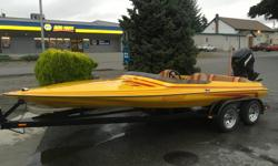 1988 Laveycraft 18' Seabring. Low hours. All original. Tunnel hull. 2.4 L Mercury Racing 220hp outboard. Jack plate. Seastar hydraulic steering. Gas pedal. Ski bar. Nice double axle trailer with four new tires and crome rims new lights. Full canvas cover