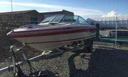 """1988 Sea Ray Seville 18 ft bow rider with a rare white """"Searay branded"""" 135 Mercury Outboard 2 stroke oil injected . Motor runs great, 120 PSI on all cylinders, all electrical works and has been renewed. Trailer is in good condition with brand new tires,"""